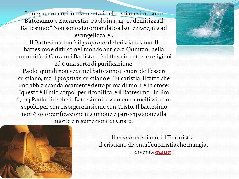 I due sacramenti fondamentali del cristianesimo sono