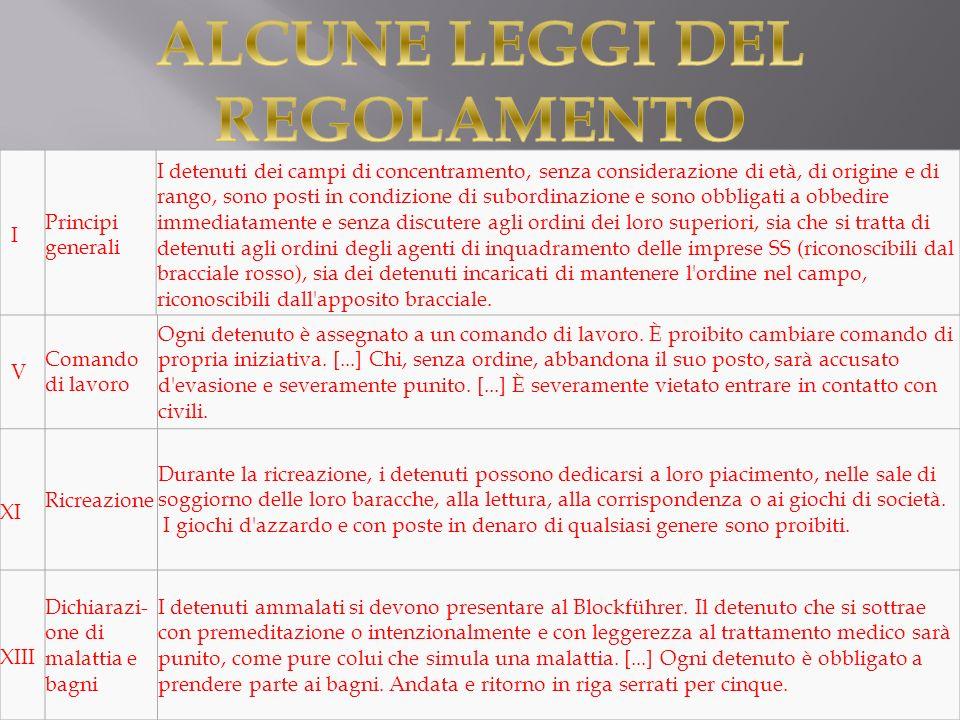 ALCUNE LEGGI DEL REGOLAMENTO