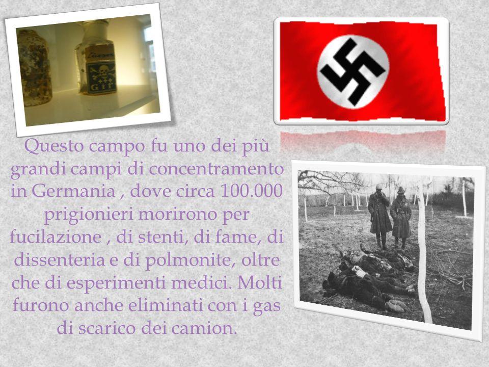Questo campo fu uno dei più grandi campi di concentramento in Germania , dove circa 100.000 prigionieri morirono per fucilazione , di stenti, di fame, di dissenteria e di polmonite, oltre che di esperimenti medici.