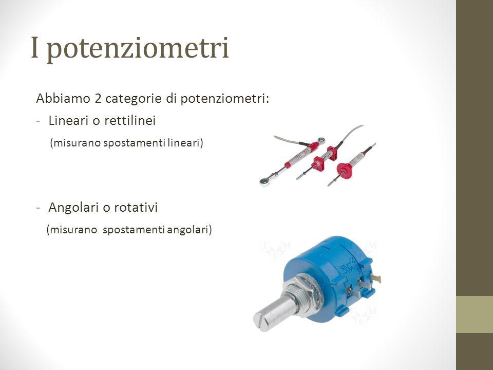 I potenziometri Abbiamo 2 categorie di potenziometri: