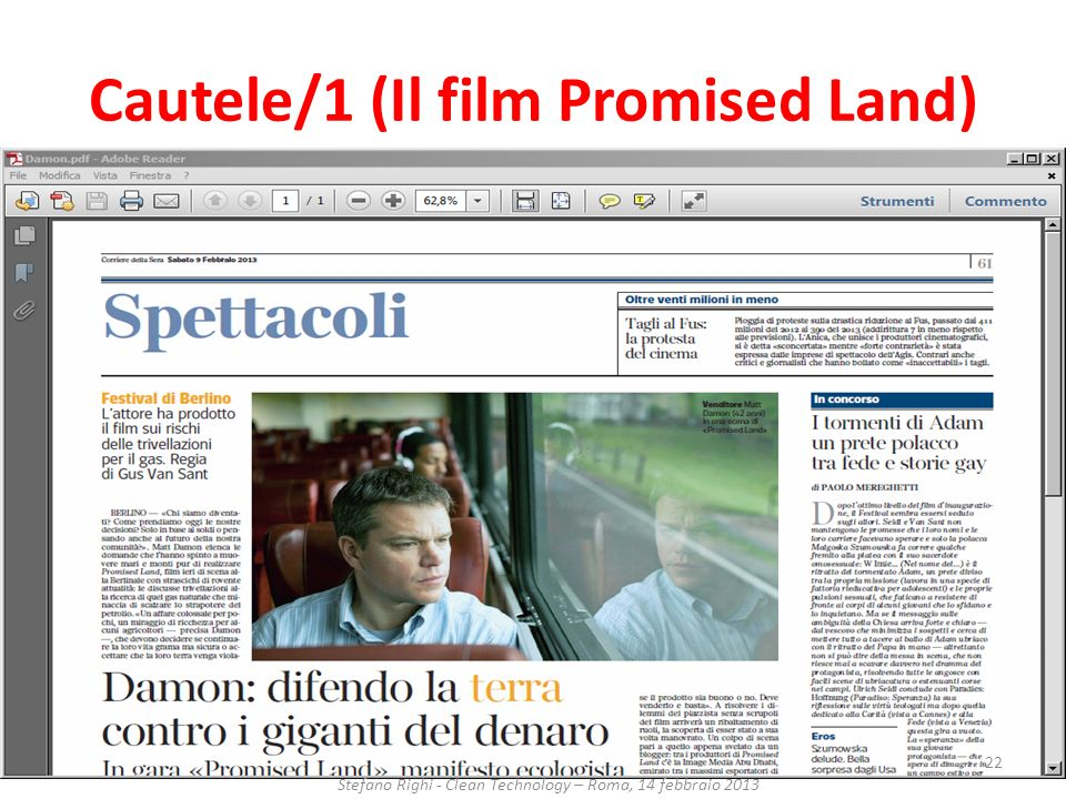 Cautele/1 (Il film Promised Land)