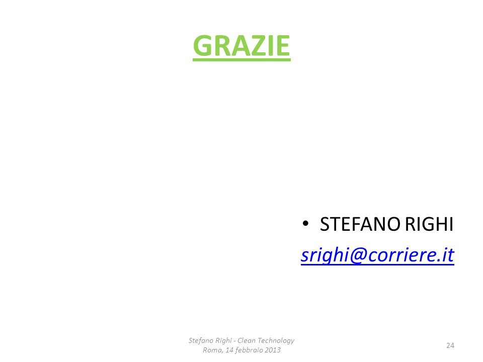 Stefano Righi - Clean Technology
