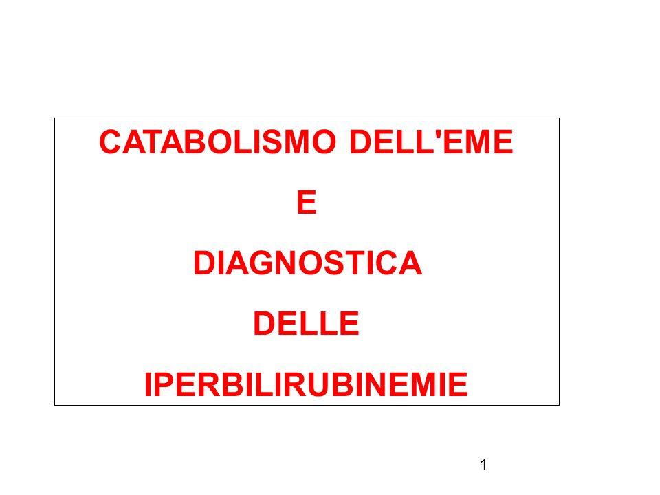 CATABOLISMO DELL EME E DIAGNOSTICA DELLE IPERBILIRUBINEMIE