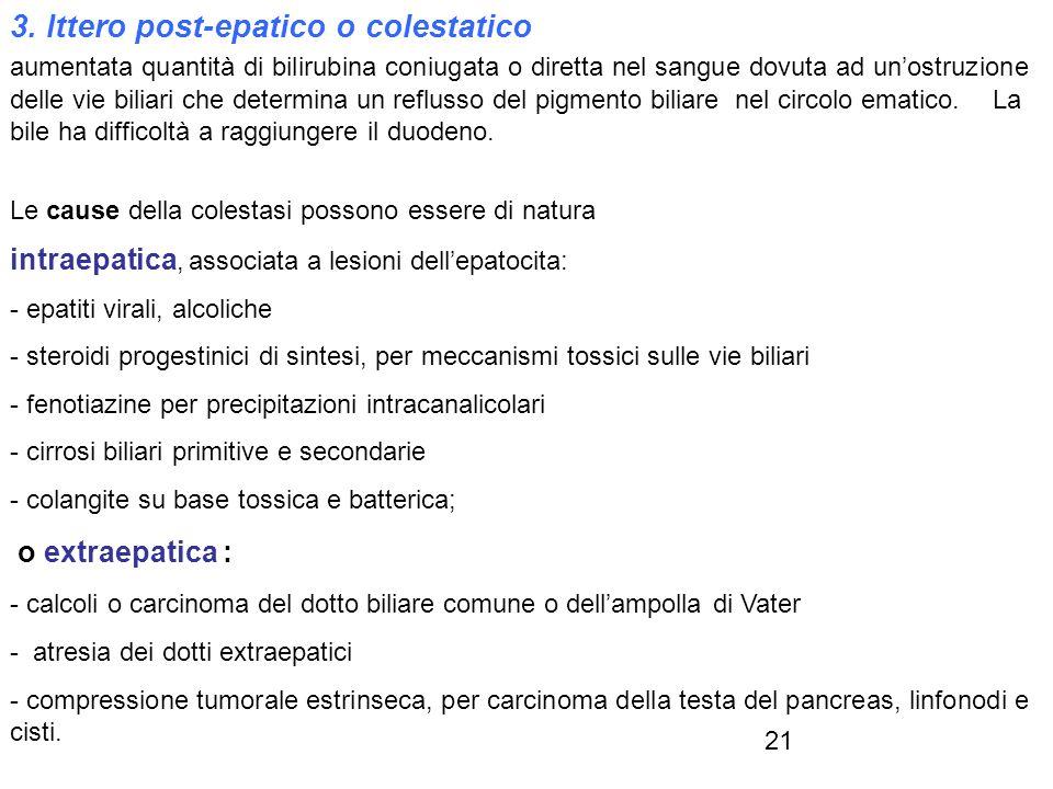 3. Ittero post-epatico o colestatico