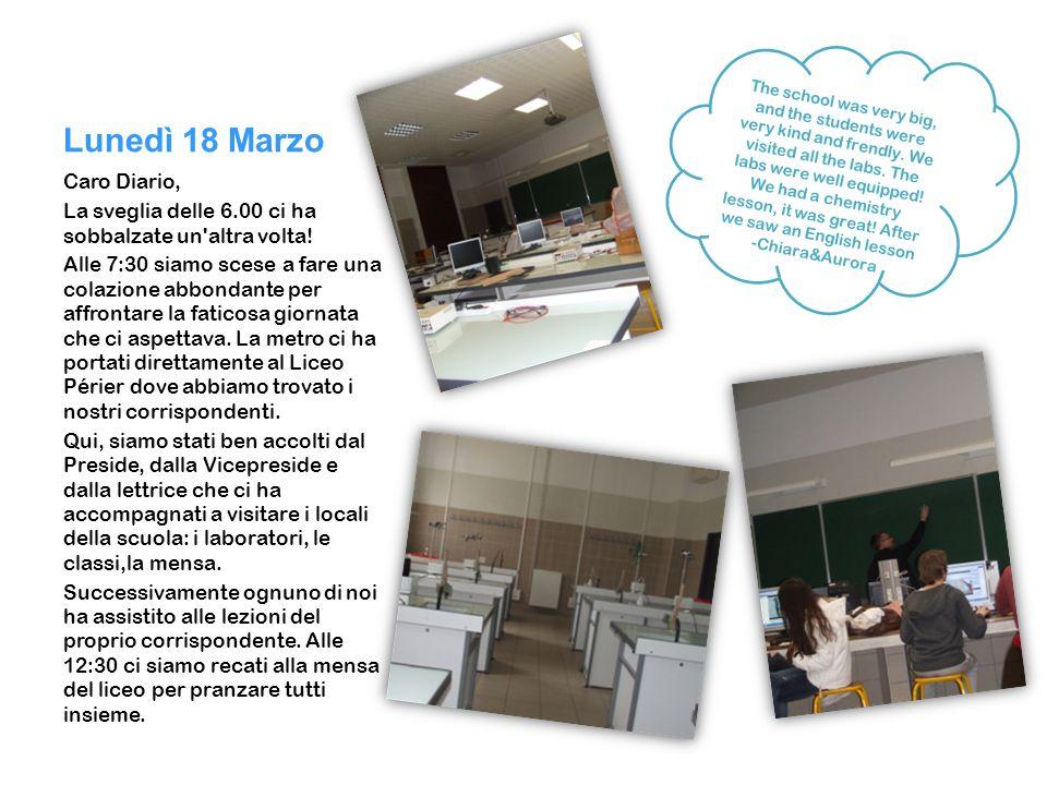 Lunedì 18 Marzo Caro Diario,