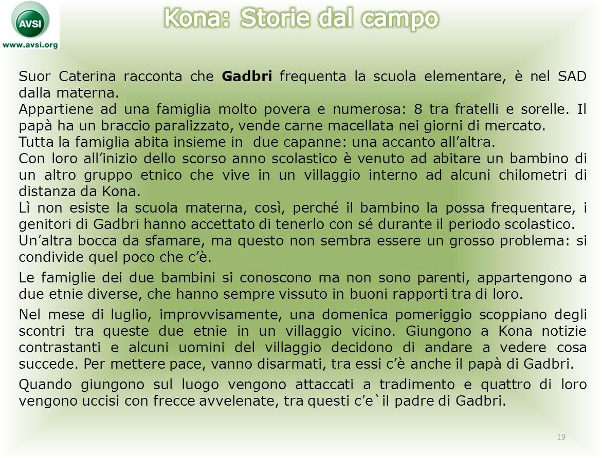 Kona: Storie dal campo Suor Caterina racconta che Gadbri frequenta la scuola elementare, è nel SAD dalla materna.