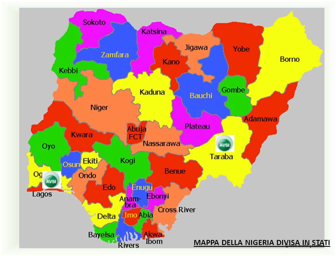 MAPPA DELLA NIGERIA DIVISA IN STATI