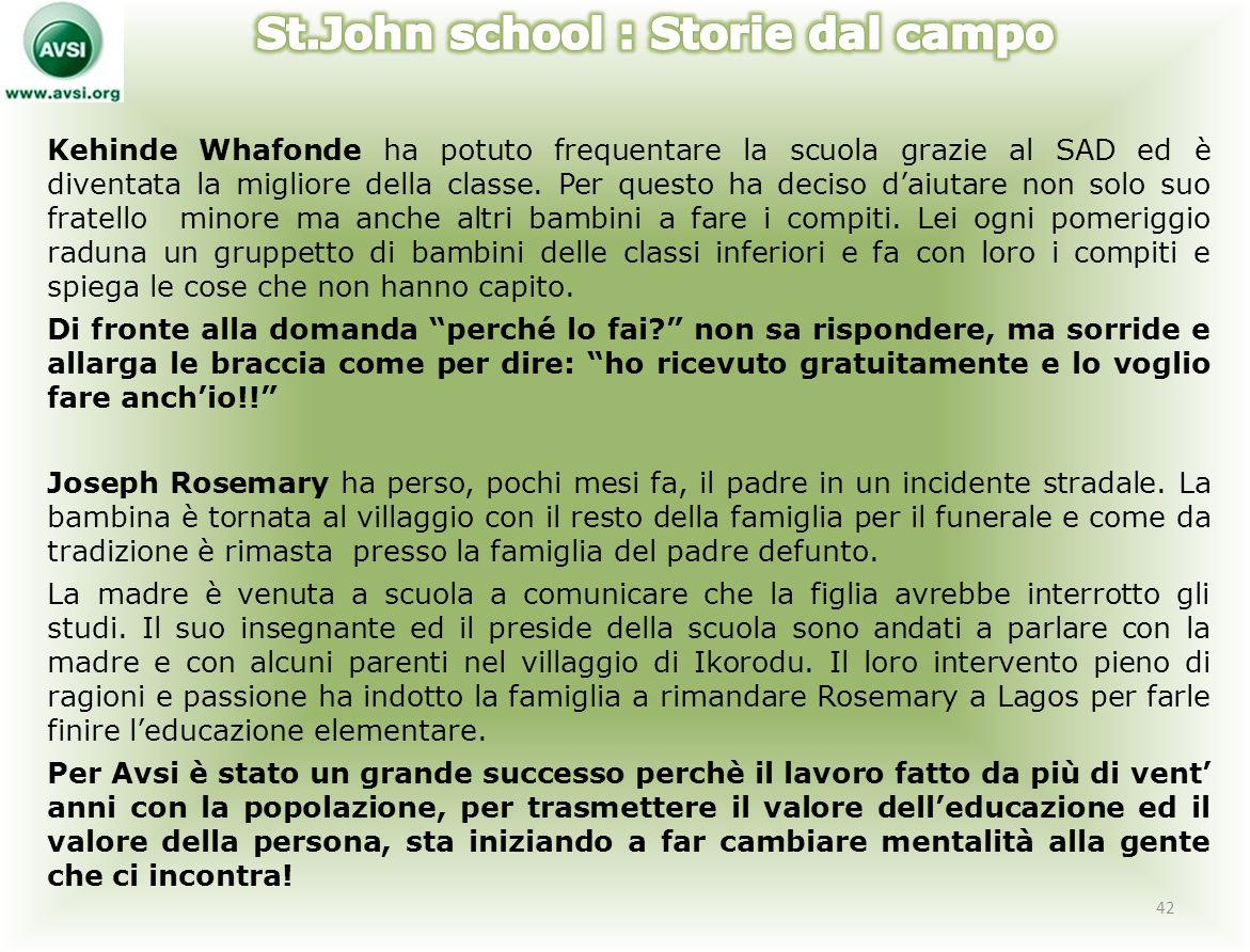 St.John school : Storie dal campo