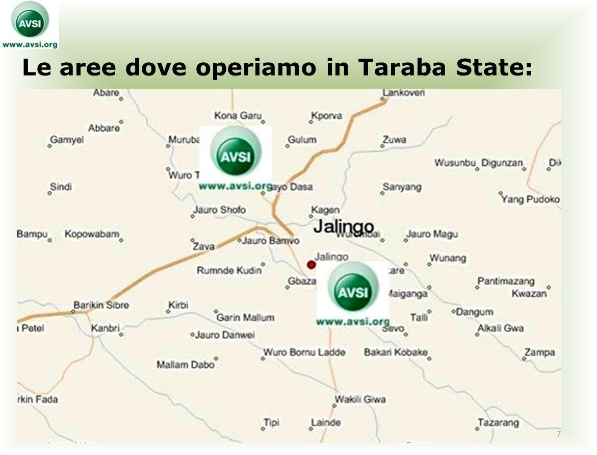 Le aree dove operiamo in Taraba State: