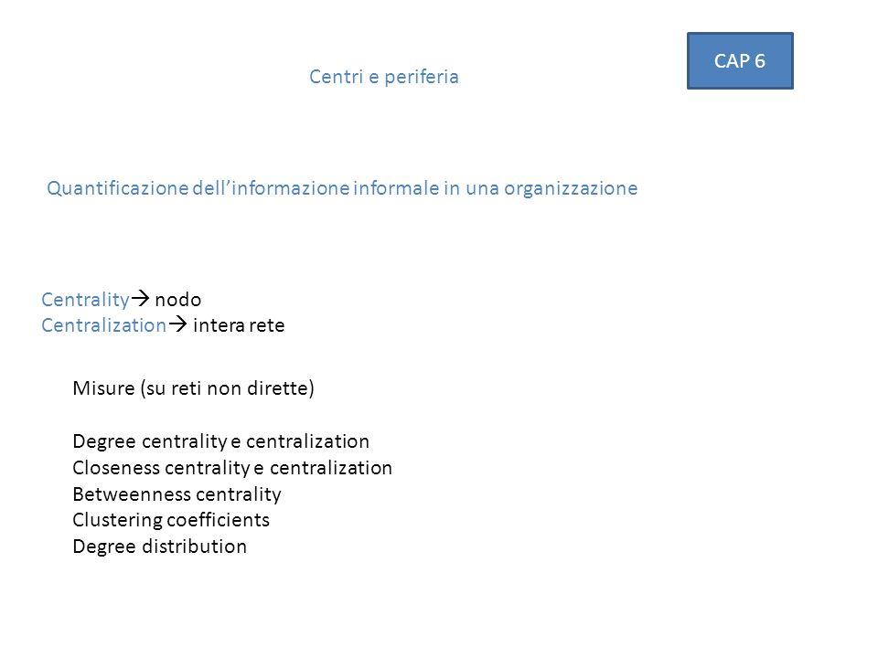 CAP 6 Centri e periferia. Quantificazione dell'informazione informale in una organizzazione. Centrality nodo.