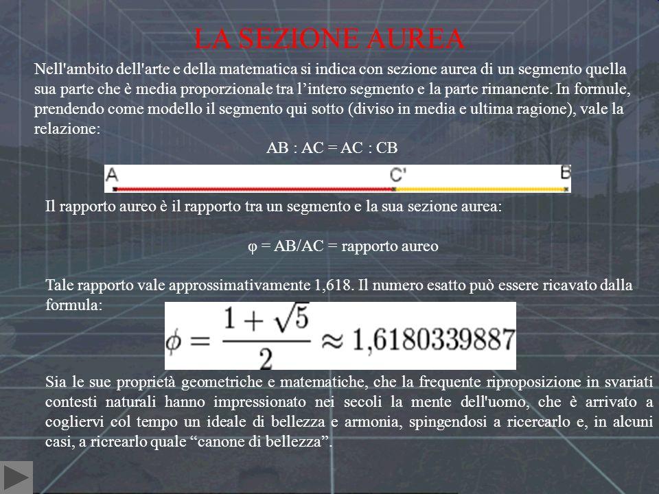 φ = AB/AC = rapporto aureo
