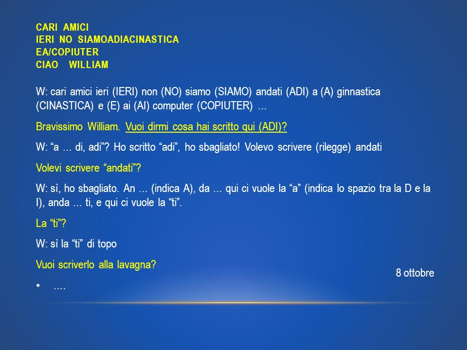 CARI AMICI IERI NO SIAMOADIACINASTICA EA/COPIUTER CIAO WILLIAM