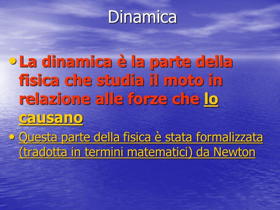 Dinamica La dinamica è la parte della fisica che studia il moto in relazione alle forze che lo causano.
