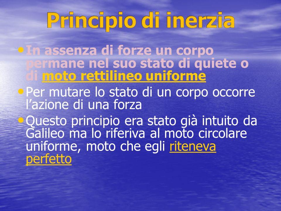Principio di inerzia In assenza di forze un corpo permane nel suo stato di quiete o di moto rettilineo uniforme.