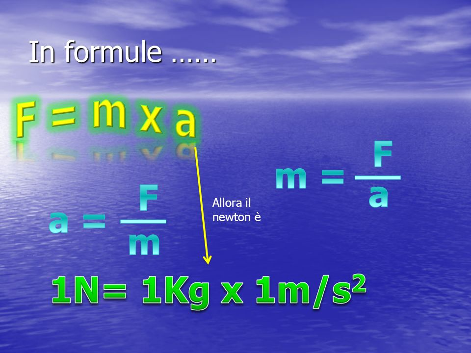 F = m x a F __ m = a F __ a = m 1N= 1Kg x 1m/s2