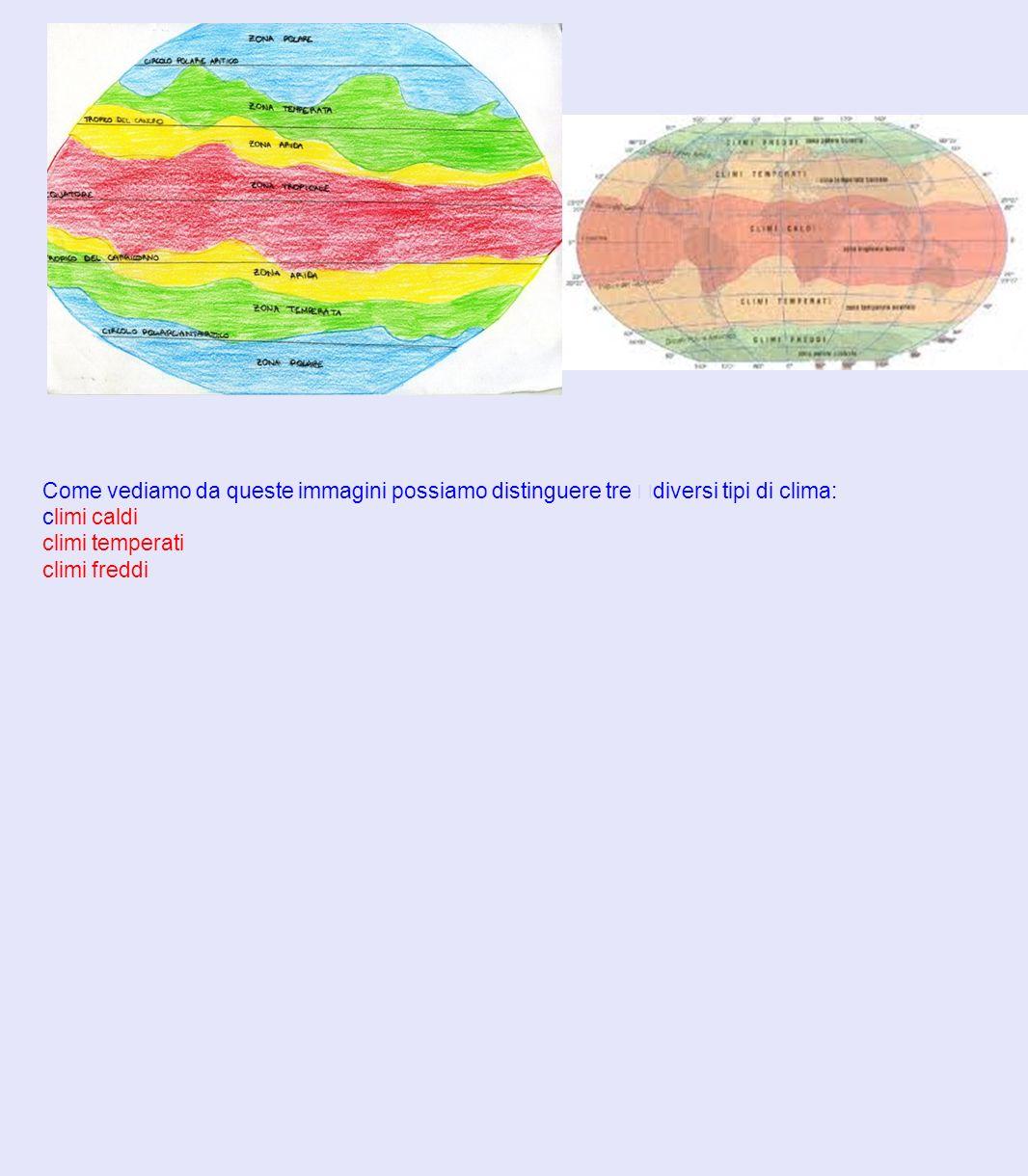 Come vediamo da queste immagini possiamo distinguere tre diversi tipi di clima:
