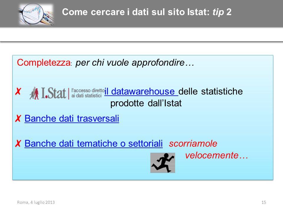 Come cercare i dati sul sito Istat: tip 2