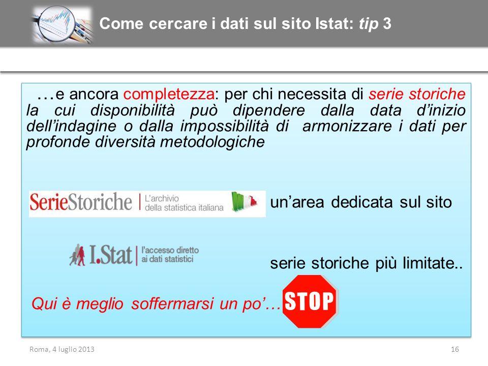 Come cercare i dati sul sito Istat: tip 3