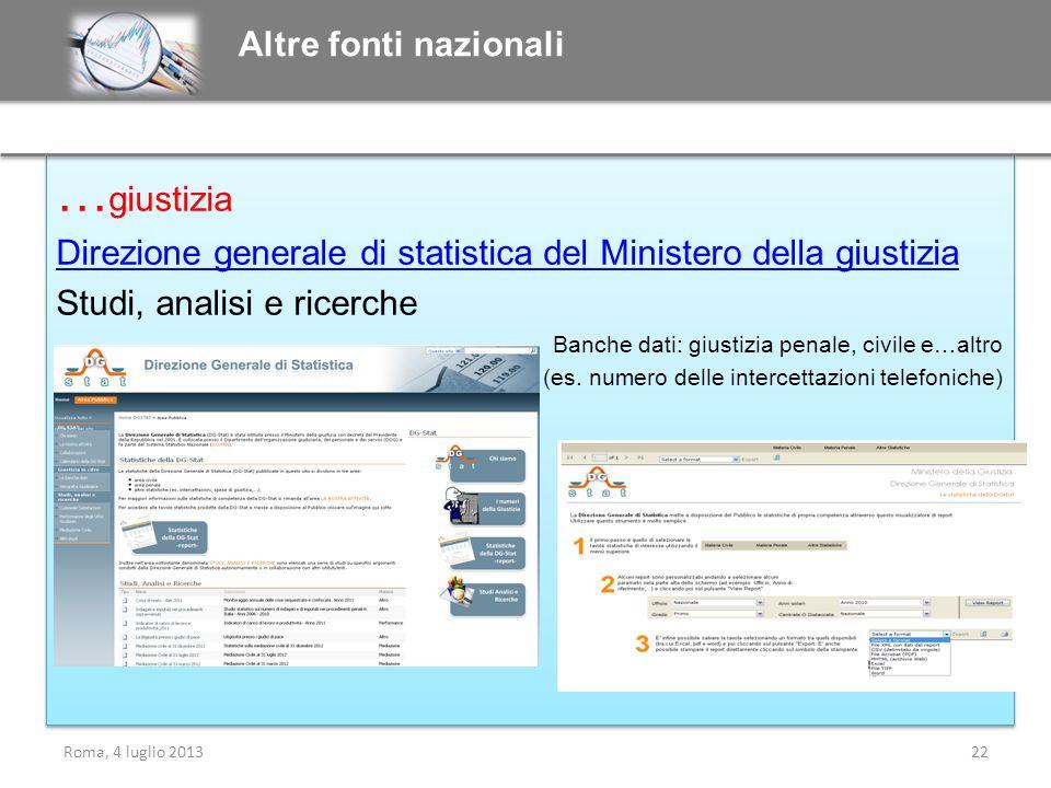 Altre fonti nazionali …giustizia. Direzione generale di statistica del Ministero della giustizia. Studi, analisi e ricerche.