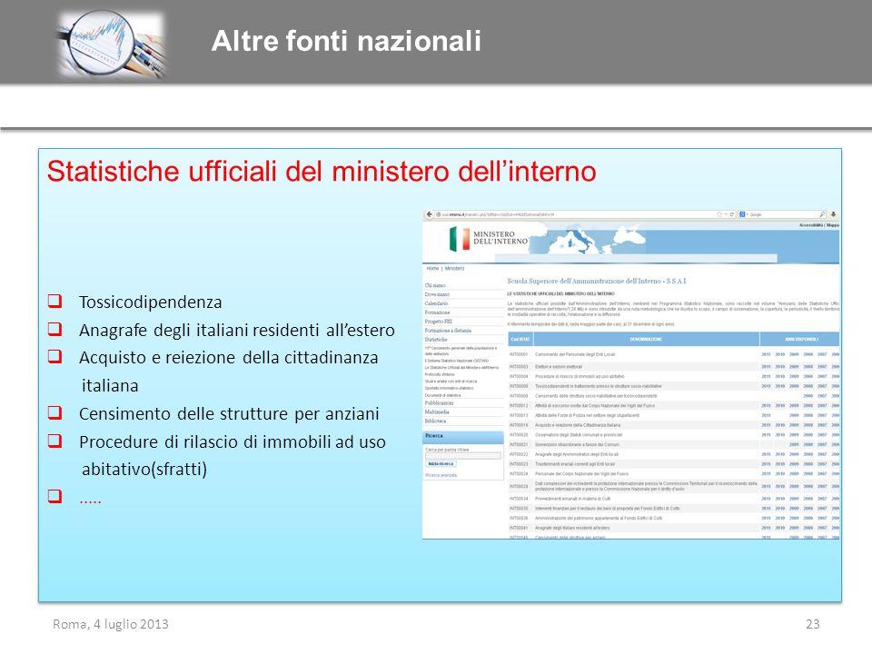 Statistiche ufficiali del ministero dell'interno