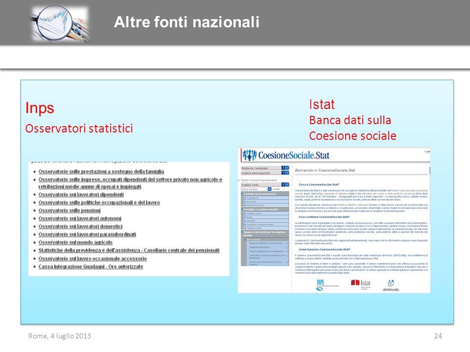 Altre fonti nazionali Inps Istat Banca dati sulla Coesione sociale