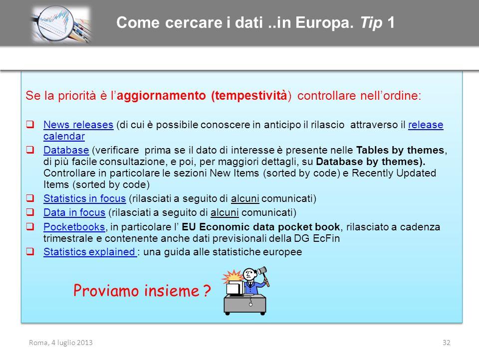 Come cercare i dati ..in Europa. Tip 1