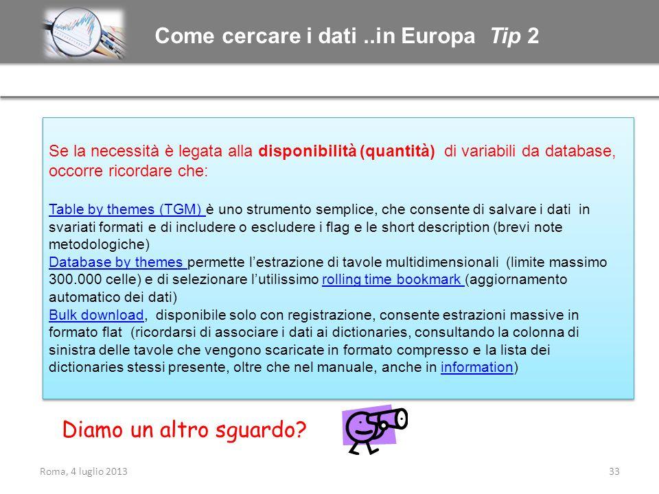 Come cercare i dati ..in Europa Tip 2
