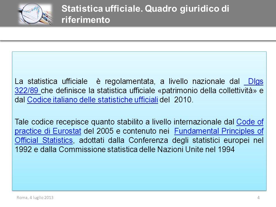 Statistica ufficiale. Quadro giuridico di riferimento
