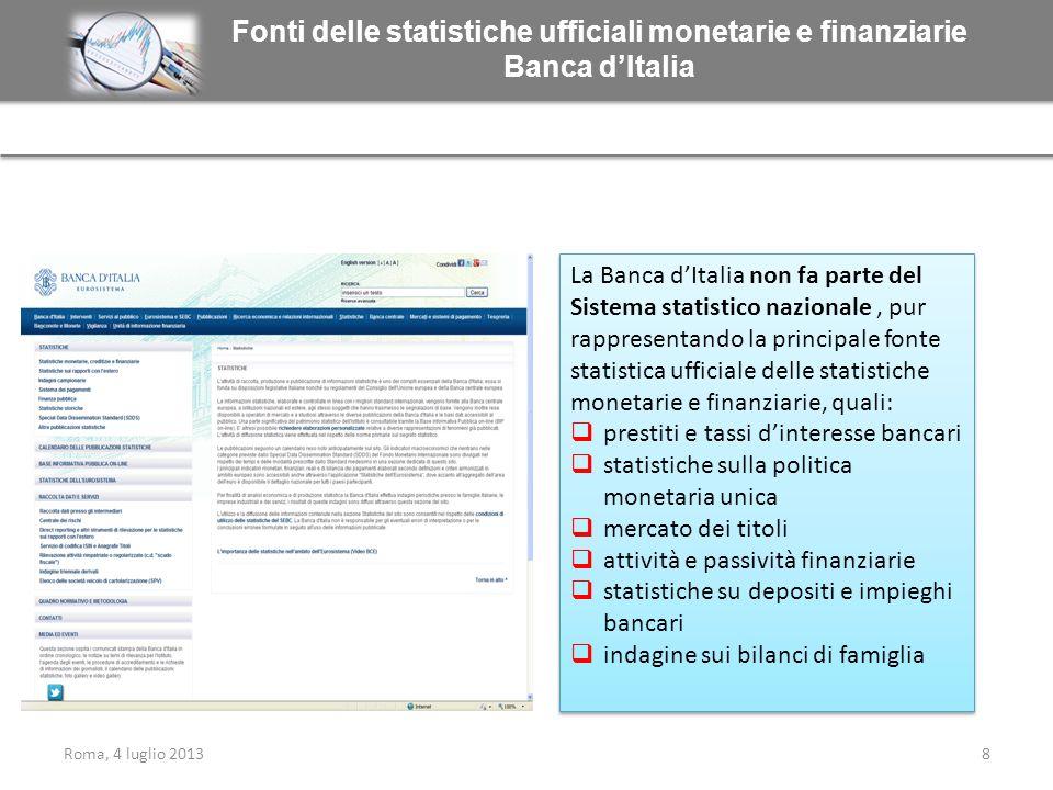 Fonti delle statistiche ufficiali monetarie e finanziarie Banca d'Italia