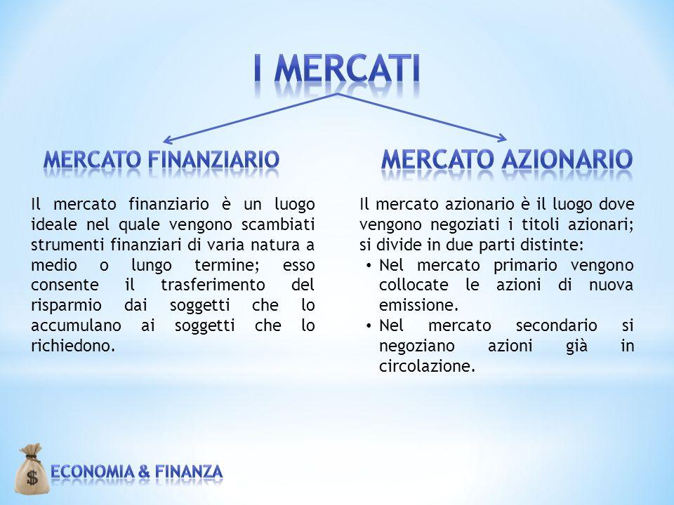 I MERCATI Mercato azionario Mercato Finanziario
