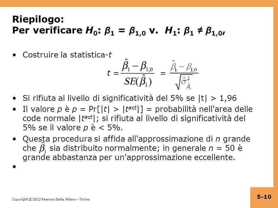 Riepilogo: Per verificare H0: β1 = β1,0 v. H1: β1 ≠ β1,0,