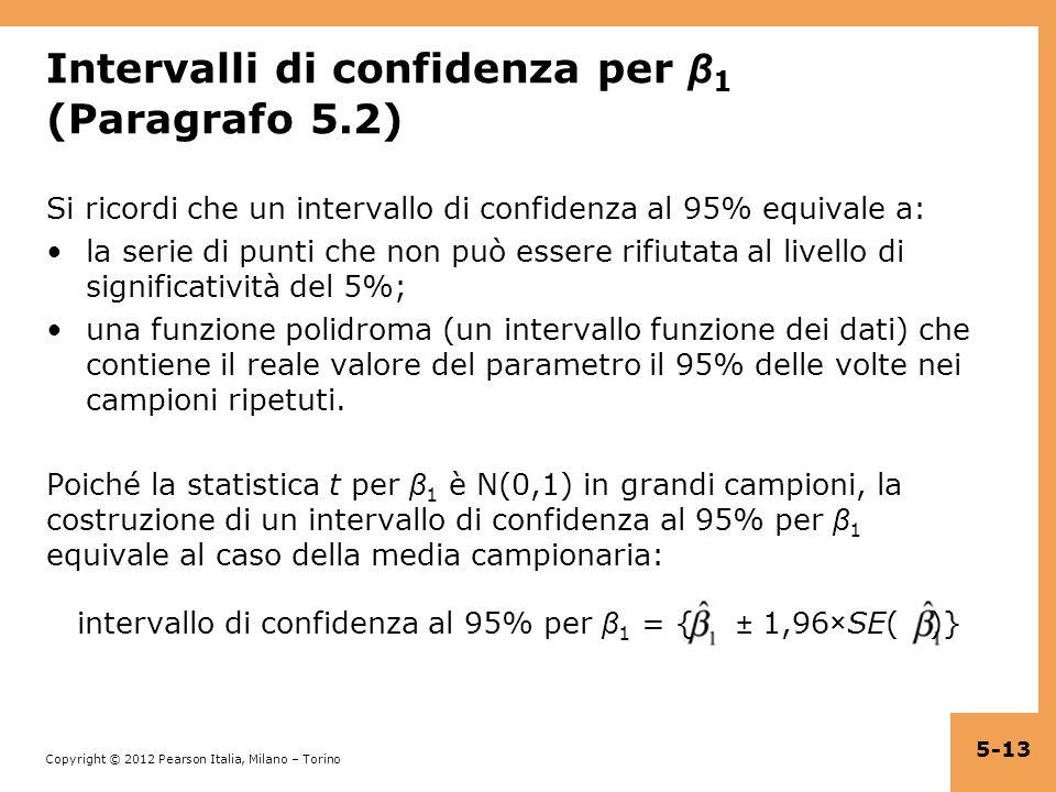 Intervalli di confidenza per β1 (Paragrafo 5.2)