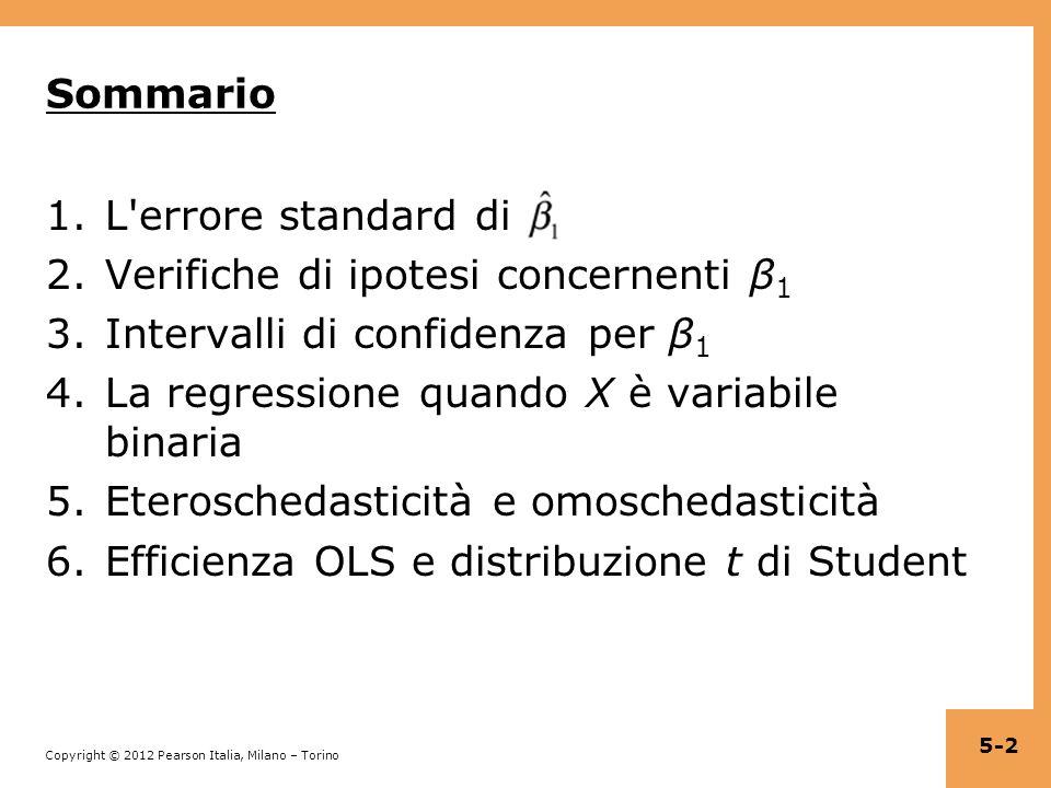 Sommario L errore standard di. Verifiche di ipotesi concernenti β1. Intervalli di confidenza per β1.