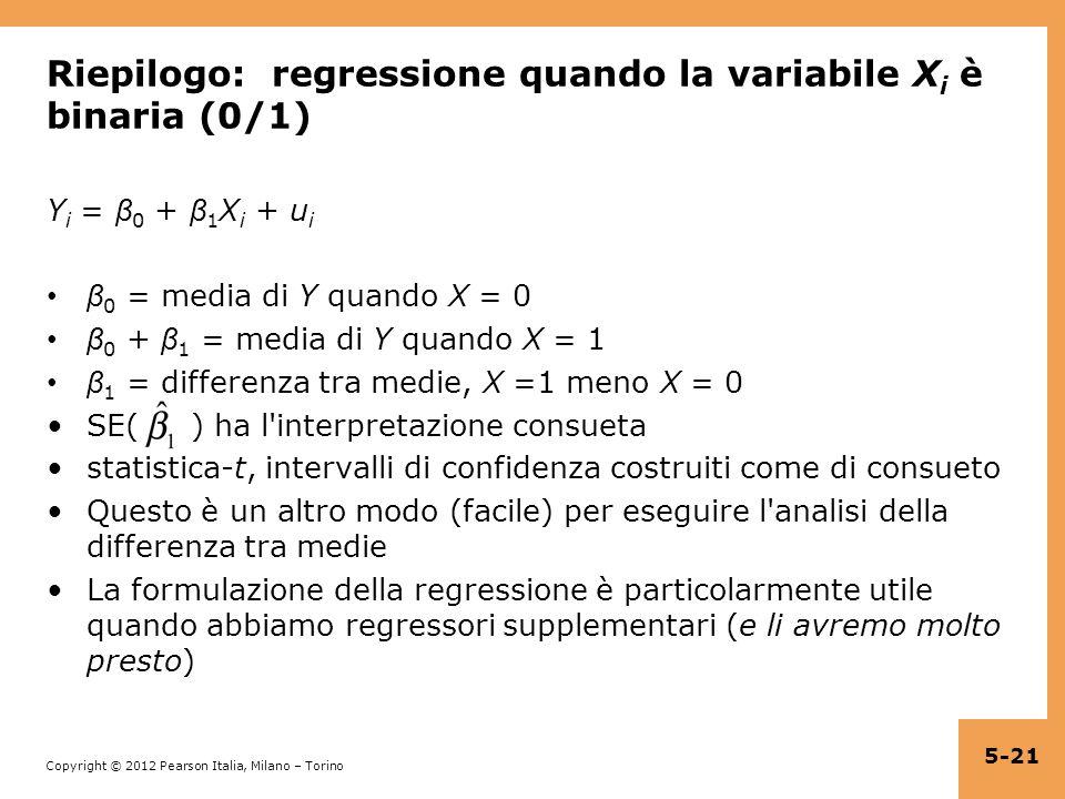 Riepilogo: regressione quando la variabile Xi è binaria (0/1)