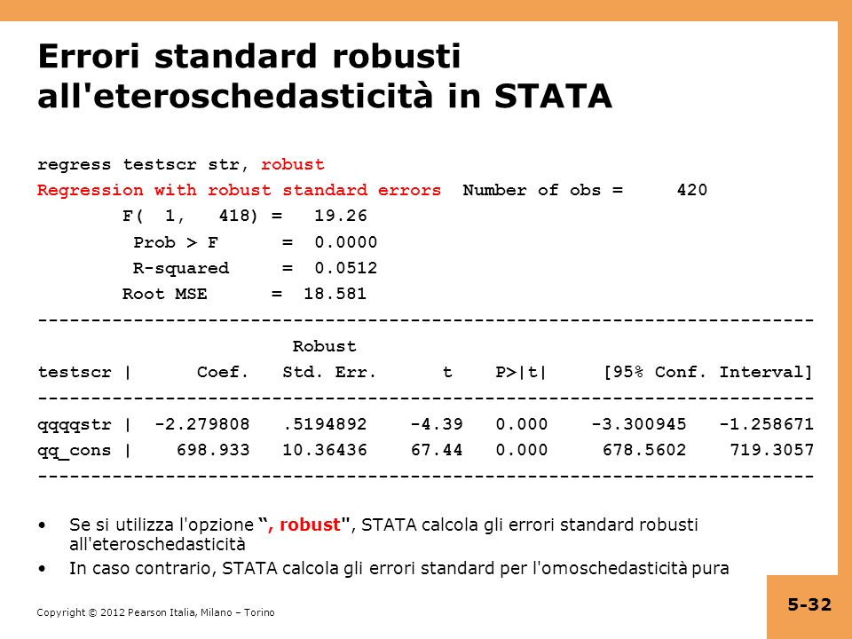 Errori standard robusti all eteroschedasticità in STATA