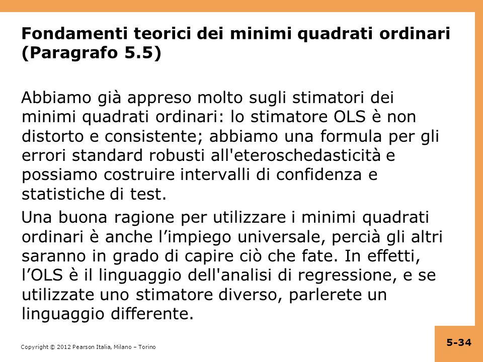 Fondamenti teorici dei minimi quadrati ordinari (Paragrafo 5.5)