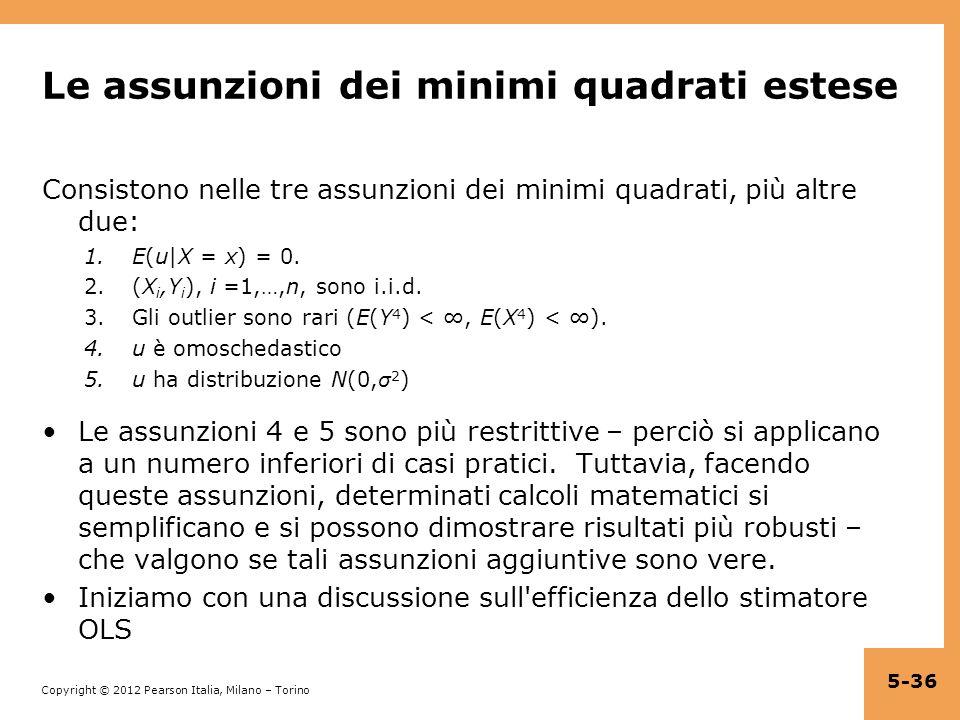 Le assunzioni dei minimi quadrati estese