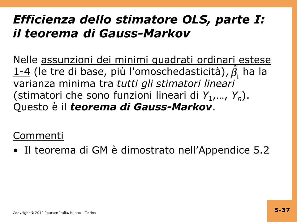 Efficienza dello stimatore OLS, parte I: il teorema di Gauss-Markov
