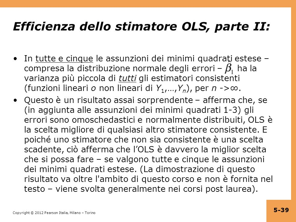 Efficienza dello stimatore OLS, parte II: