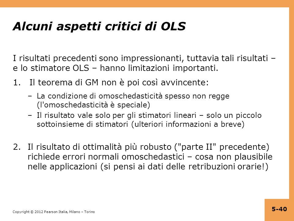 Alcuni aspetti critici di OLS