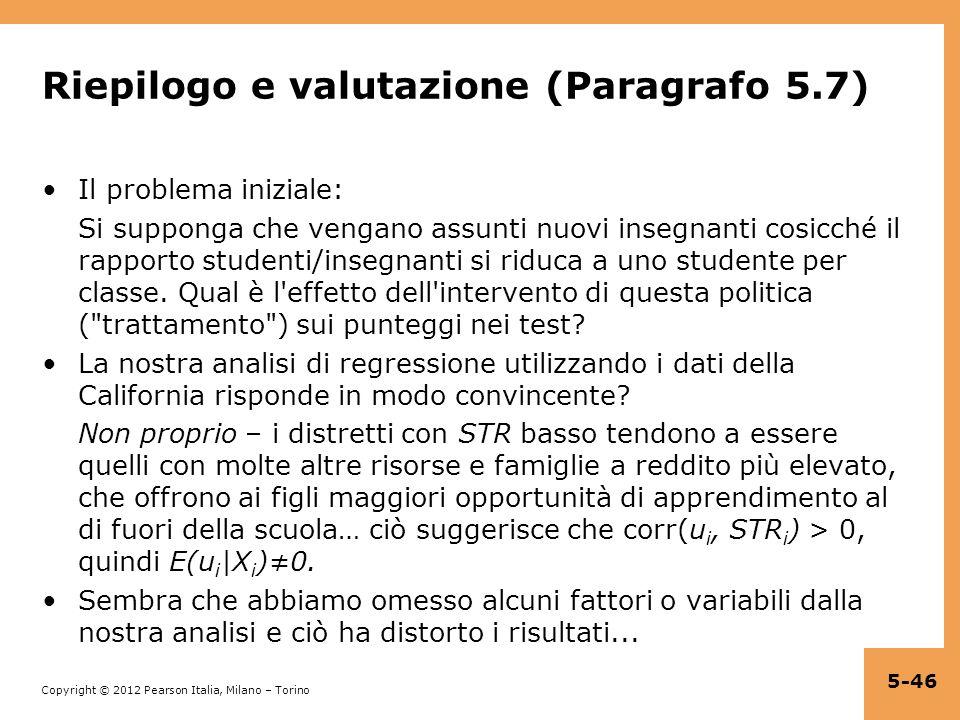 Riepilogo e valutazione (Paragrafo 5.7)