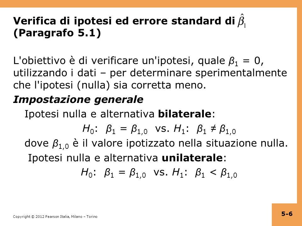 Verifica di ipotesi ed errore standard di (Paragrafo 5.1)