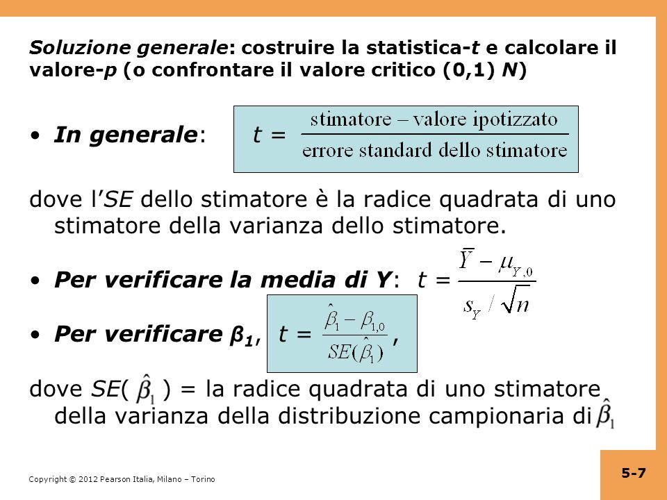 Per verificare la media di Y: t = Per verificare β1, t = ,