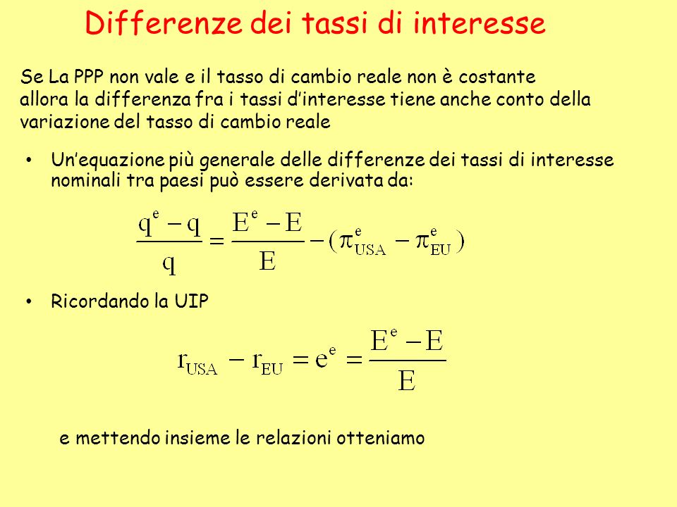 Differenze dei tassi di interesse
