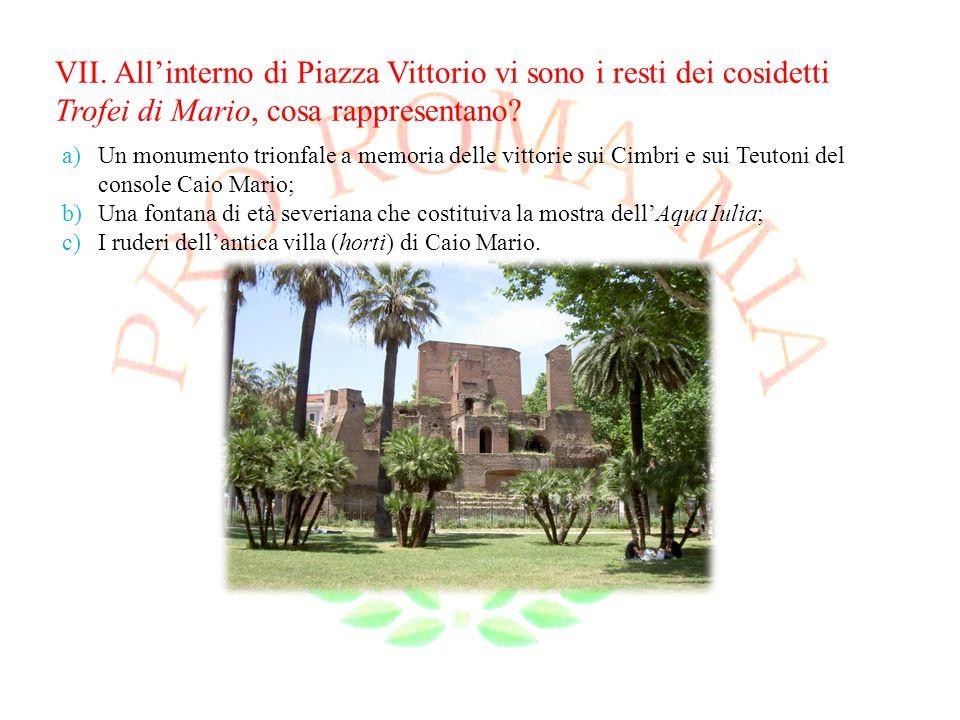 VII. All'interno di Piazza Vittorio vi sono i resti dei cosidetti Trofei di Mario, cosa rappresentano
