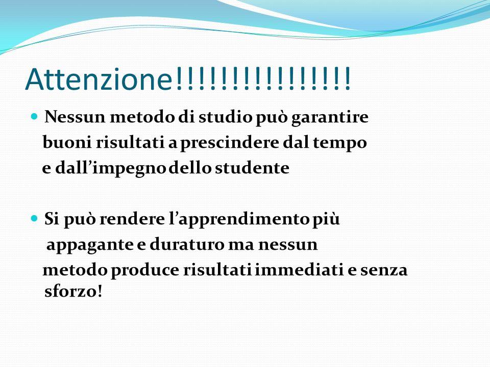 Attenzione!!!!!!!!!!!!!!!! Nessun metodo di studio può garantire