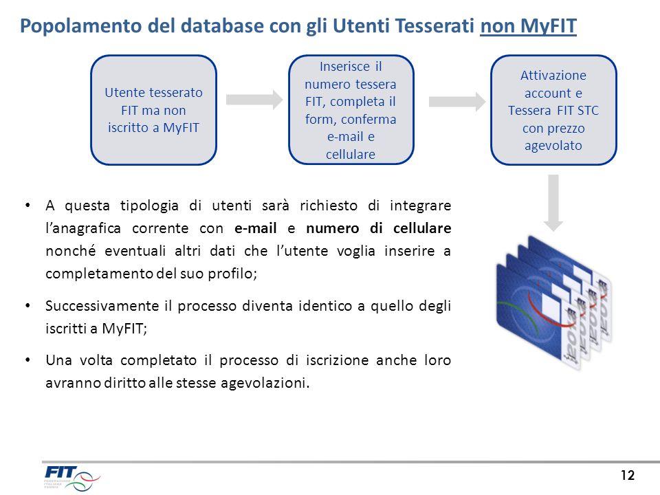 Popolamento del database con gli Utenti Tesserati non MyFIT