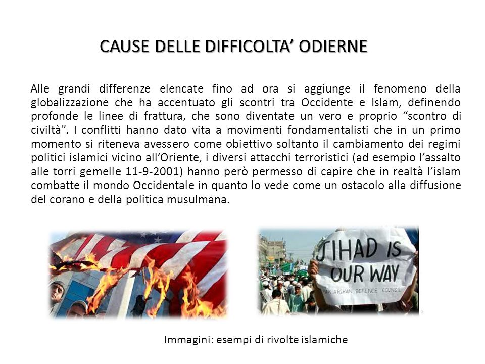 CAUSE DELLE DIFFICOLTA' ODIERNE