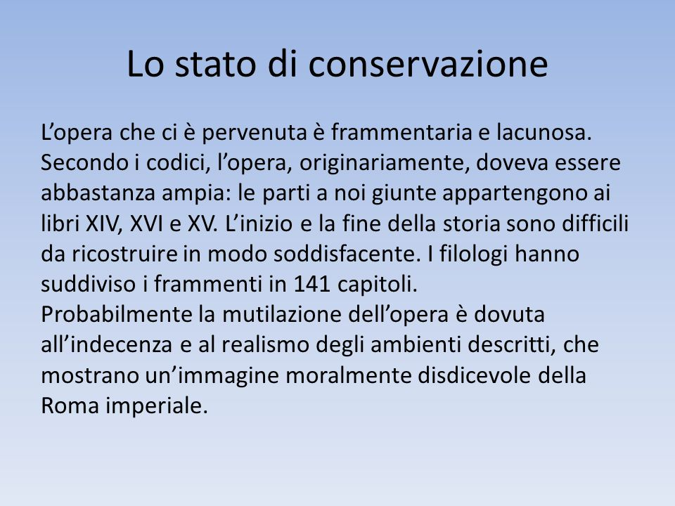 Lo stato di conservazione