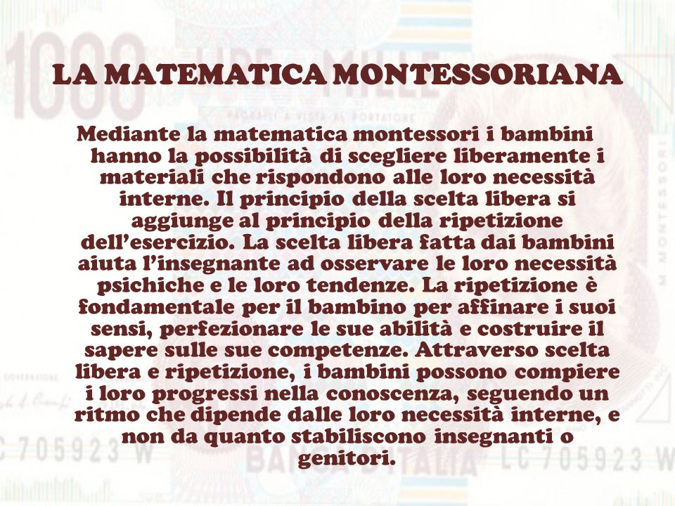 LA MATEMATICA MONTESSORIANA